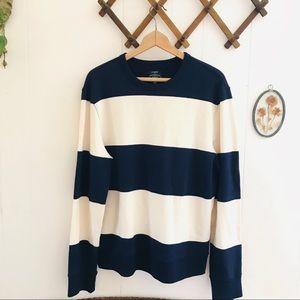 J Crew Authentic Fleece Striped Sweatshirt